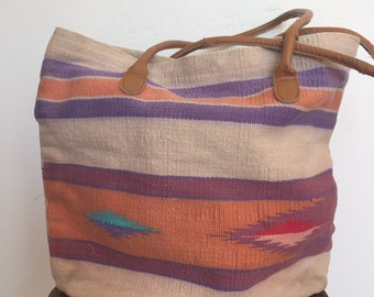 Cute 80s Kilim Bag - 1980s Market Beach Tote