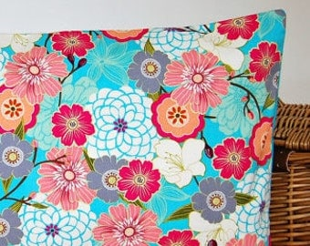 decorative pillow cover 16 inch  cushion cover, turquoise blue, dusky pink, grey white flowers floral flowers