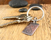 Infinity keychain, engraved key chain, gifts for him, copper keychain embossed with infinity symbol, key fob gift.