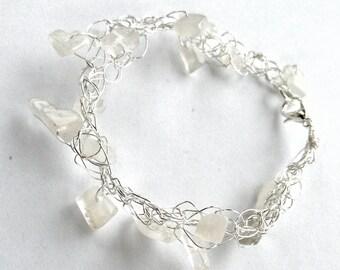 Moonstone Bracelet - Wire Mesh Bracelet - Handmade Jewelry - Silver Wire Bracelet - Healing Crystal Jewelry - Wire Crochet Jewelry - Pagan