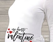 Sparkly Valentine favorite long or short sleeve maternity or non maternity pregnancy top with glitter hearts