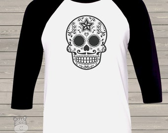 Halloween sugar skull custom unisex ADULT raglan style shirt - perfect for Halloween and Day of the Dead  SSAR
