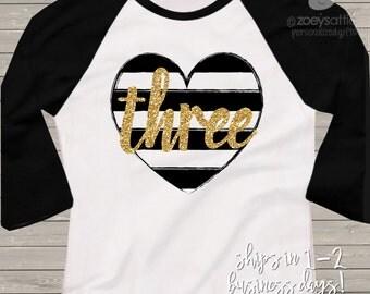Third birthday gold glitter three black white striped heart 3rd birthday raglan shirt - sparkly gold glitter birthday shirt
