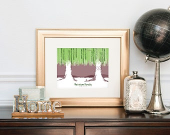 Personalized Family Tree, Unique Grandparent Gift, Personalized Family Tree Art, Willow Family Tree, Gift for Grandparents / H-G11-1PS ZZ0