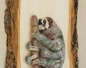 Sloth Art, Polymer Clay Animal Sculpture, Bas Relief Wall Hanging on Wood Plank, Three toed Sloth, Costa Rica Art