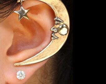 Crescent Ear Wrap Moon Ear Cuff Bronze Moon Ear Wrap Celebrity Style Jewelry Crescent Earring Moon and Star Earring Prince Ear Wrap Earcuff