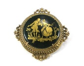 Victorian Florenza Brooch Pin Black With Gold  Black Cameo Brooch