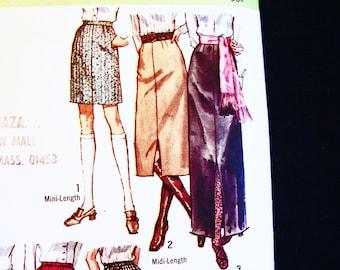 1970s Skirt Pattern Size 16, Womens Mini Skirt, Midi Skirt, Maxi Skirt, Easy to Sew