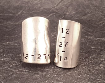 Whole Spoon Ring Personalized Hand Stamped Date MR0501-BSCDATE