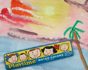 1950s Playtime Water Colors Paint Tin, Binney & Smith, No. 515 with Cartoon Children
