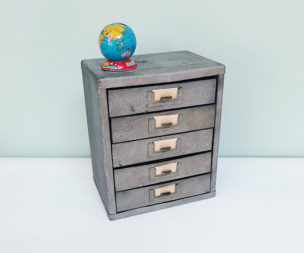 Industrial Gray Metal Storage Unit Galvanized Five Drawers