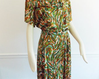 1950s abstract Dress / Mid Century multi color day dress/ modernist expressionist dress/ 1950s large dress