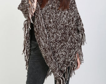 Hand Knit poncho brown/white mixed color shrug fringe capelet LMD