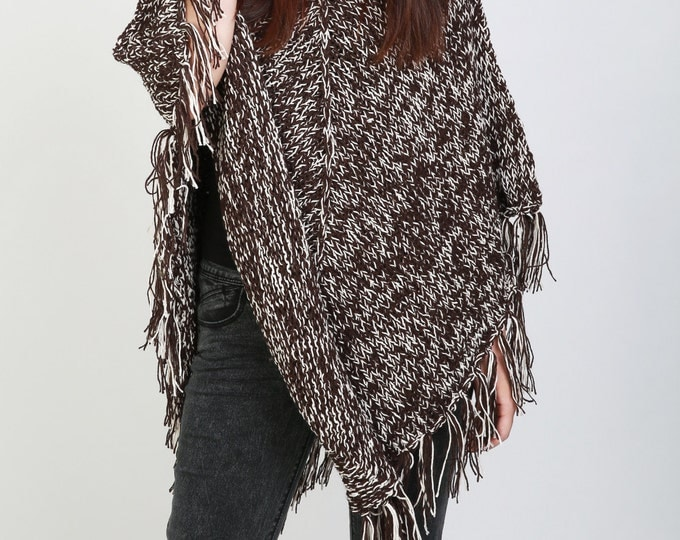 Hand Knit woman poncho brown/white mixed color shrug fringe capelet LMD