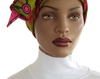 African Hat Head Wrap Scarf Genuine Wax Cotton Pink Green Swirl Satin Lined Chemo Hat Natural Hair Wrap Scarf Easy Wrap Turban Handmade