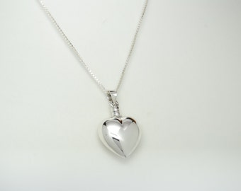 Sterling Silver Cremation Jewelry Engravable Heart Cremation Urn Necklace Ashes Bottle Memorial Keepsake Pendant Urn