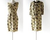 50s Cocktail Dress / Gold Brocade Dress Set / Vintage 1950s Dress / Medium M
