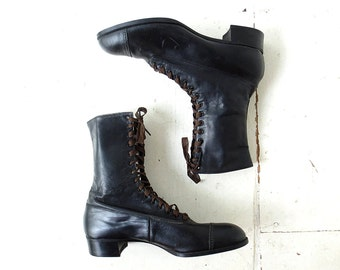 Vintage Edwardian Boots | Lace Up Boots | 1920s Boots | Leather Boots | Size 6 1/2