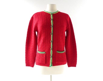 Vintage 1940s Cardigan | Red Sweater | Wool Cardigan | M L