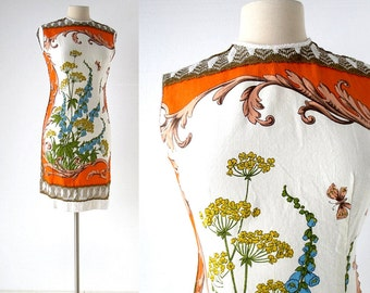 Vintage 1960s Dress / Rococo Bouquet / Floral Print Dress / 60s Dress / Small S