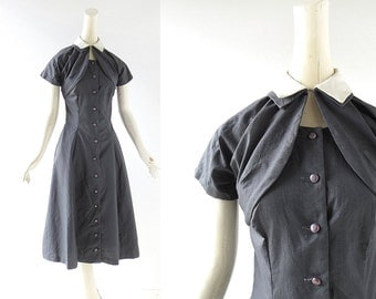 Vintage 1950s Dress / Mademoiselle / 50s Sundress and Jacket / Pewter Gray Dress / XXS