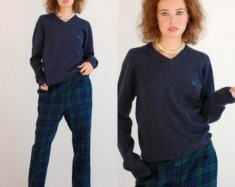 Penguin Sweater Vintage Charcoal Gray PENGUIN Munsingwear Lambswool Preppy Punk V Neck Sweater  (m l)