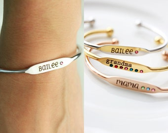 Engraved Birthstone Bracelet - Silver Gold Rose Gold Engraved Birthstone Bracelet Personalized Bridesmaid Gift Name Bracelet Bridesmaid