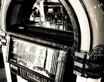 Vintage Music Jukebox Black & White Fine Art Print- Vintage, Nostalgic, Home Decor, Photography, Gift, Zen