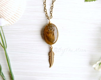 Brown Moss Agate Necklace, Feather Necklace, Boho Jewelry, Gift for Her, Gold Necklace, Valentines Gift, Brown Stone, Boho Necklace, Gift