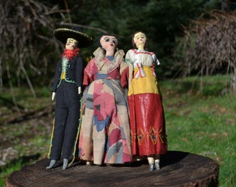 Set of 3 Handmade Folky Mexican Dolls
