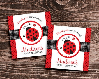 Personalized Ladybug Party Favor Tags or Stickers – DIY Printable – Classic Red and Black (Digital File)