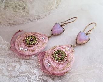 Fire Opal earrings, heart earrings, vintage Swarovski textile earrings, bead embroidery earrings, lightweight textile jewelry, romantic gift