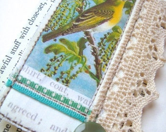 Songbird Lace Collaged Brooch Pin