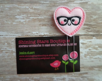 Embellished Felt Planner Clips - Light Pink Nerdy Heart With Glasses Paper Clip Or Bookmark - Accessories For Planners, Calendars, Or Books