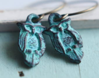 Czech Glass Owl Earrings - Night Owl