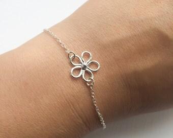 Sterling Silver Daisy Flower Bracelet