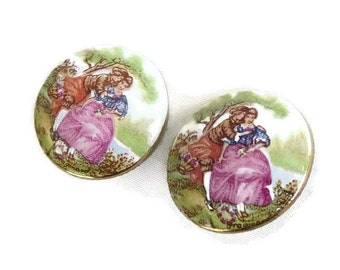 Porcelain Fragonard Cameo Earrings Courting Couple Vintage signed Austria