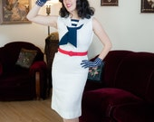 Vintage 1950s Dress - Stylish White and Navy Blue Linen 50s Wiggle Dress with Sailor Collar, Stripes and Sash Tie