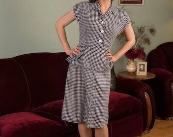 Vintage 1940s Dress - Dashing Midnight Navy and White Cotton Gingham 40s Day Dress with Angular Hips Pocket Peplum