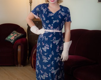 Vintage 1940s Dress - Beautiful Novelty Print Navy Blue and Pink Cold Rayon 40s Dress with Clocks, Baskets, Fans and Flowers