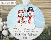 Our First Christmas Ornament Personalized Ornament Mr & Mrs Christmas Gift Wedding Gift Snowman Couple - Item# SC-MM-O