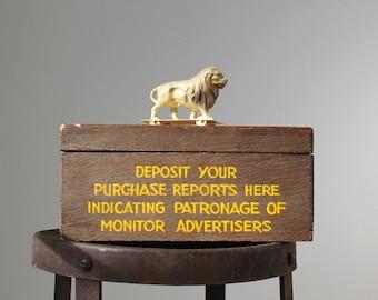 Vintage Storage Box, Monitor Newspaper Advertising Box, Vintage Storage, Suggestion Box, Typography, Christian Science Monitor