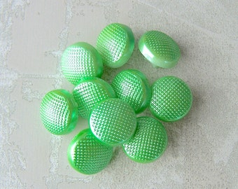 Small Vintage Plastic Buttons 13mm - 1/2 inch Metallic Winter Neon Kiwi Green Buttons - 10 VTG NOS Pebbled Mod Green Flash Buttons PL102
