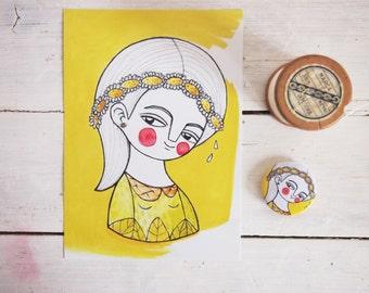 SET, yellow daisy girl postcard + brooch