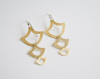 Lore Open Earrings - Brass Leaf, Anchor Shapes
