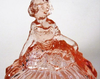Pink Glass Covered Candy Trinket Dish Woman Lady Girl Figurine Diamond Vintage Deco Style Jewelry Holder