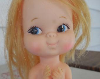 Vintage Kamar or Forsum Angel Doll - Sitting Doll, Kneeling Doll, Praying Doll- Kawaii, Pre-Blythe, Big Eyes, 1960s Vinyl Doll - CUTE