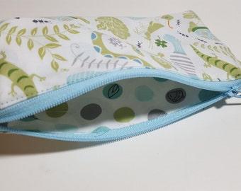 Boy Pencil Pouch, insect print, children, soft profile, Zipper bag, art pouch, travel pouch