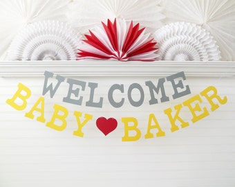 Custom Welcome Baby Banner - 5 inch Letters - Baby Shower Banner Custom Baby Banner Baby Name Banner Baby Shower Decor Sign Baby Garland