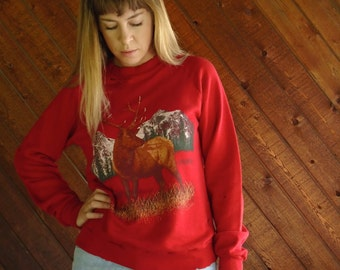 Red Nature Elk Print DESTROYED Sweatshirt - Vintage 90s - XS S